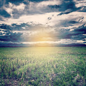 Vintage photo of storm clouds and field meadow with sunset — Stock Photo