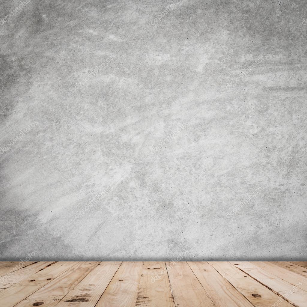 오래 방 시멘트 벽 인테리어 빈티지와 나무 바닥 — 스톡 사진 ...