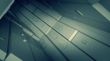 Camera flight through technological tunnel — Stock Video
