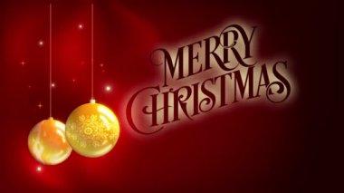 Merry Christmas - yellow balls — Stock Video