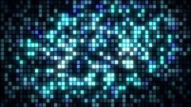 Background with wall of twinkling blue squares, loop — Stock Video