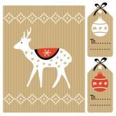 Noel tebrik kartı, ren geyiği, topları, vektör hediyelik etiketler — Stok Vektör