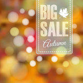 Autumn fall sale poster with blurred background and lights — Stock Vector
