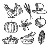 Set of thanksgiving black sketches, vector objects — Wektor stockowy