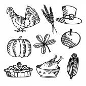 Set of thanksgiving black sketches, vector objects — Vector de stock