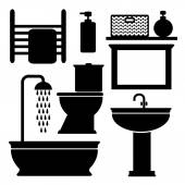 Bathroom toilet black icons set, vector black silhouettes — Vector de stock