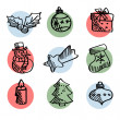 Set of cute hand drawn christmas icons, isolated vectors — Stock Vector #55078879