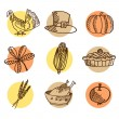 Set of thanksgiving hand drawn icons, isolated vectors — Stock Vector #55078887