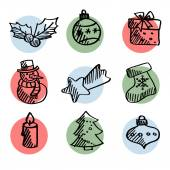 Set of cute hand drawn christmas icons, isolated vectors — Stock vektor