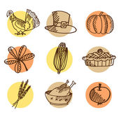 Set of thanksgiving hand drawn icons, isolated vectors  — Vecteur