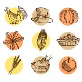 Set of thanksgiving hand drawn icons, isolated vectors  — Stock Vector