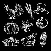 Set of thanksgiving chalk sketches on blackboard, vector  — Stock Vector