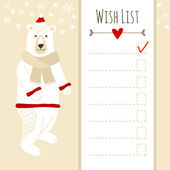 Cute christmas card,baby shower wish list with polar bear — Stock Vector
