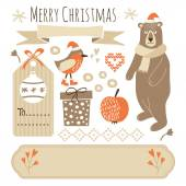 Set of cute christmas graphic elements, vector objects — Stock Vector