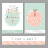 Set of floral romantic wedding,baby shower,birthday cards — Stok Vektör