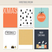 Set of christmas greeting, journal cards, vector — Stock Vector