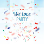 Colorful confetti party background, vector greeting card — Stock Vector