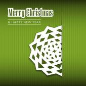 Christmas greeting card with paper snowflake, vector — Stockvektor