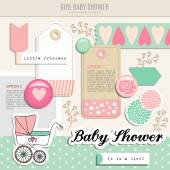 Cute set of baby shower scrapbooking elements, vector — Vetorial Stock