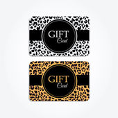 Set of gift or vip cards with trendy leopard pattern, vector — Stock Vector