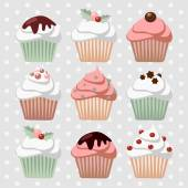 Set of various christmas cupcakes, muffins, vector — Vector de stock