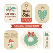 Retro set of christmas vintage gift, sale labels,tags — Stockvektor