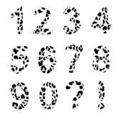Vector alphabet numbers,trendy leopard pattern — Stock Vector