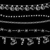 Set of christmas chalk doodle garlands, dividers on blackboard — Stock Vector