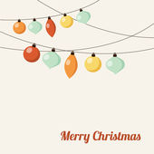 Christmas greeting card with garland, christmas balls, vector — Stock vektor