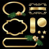 Set of gold luxury labels, frames, stars, balls, fir tree twigs — Stock Vector