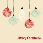 Retro christmas card with textured christmas balls, vector — Stock Vector