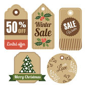 Set of vintage christmas winter gift and sale tags, labels, vector  — Stock Vector