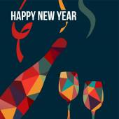New year greeting card,polygon bottle of wine,glasses, vector — 图库矢量图片