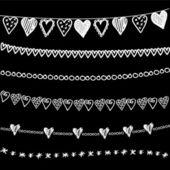 Set of chalk doodle hand drawn garlands, borders on blackboard — Stock Vector