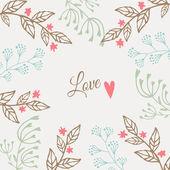 Cute floral valentines, wedding card, invitation, vector — 图库矢量图片