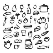 Set of doodle icons of food, drink and kitchen utensils, vector — Stock Vector