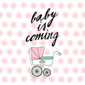 Baby shower invitation, birthday card with baby carriage and watercolor dots, vecto — Wektor stockowy