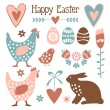 Cute easter elements set with eggs, hens, hare,flowers, vectors — Stock Vector #63319241