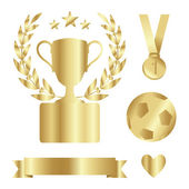 Shiny gold trophy cup, medal, laurel, award set, isolated vectors — Vector de stock