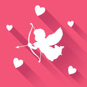 Valentine card with silhouette of angel cupid with arrow, vector — Stock Vector