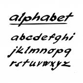 Hand drawn vector alphabet, font, isolated ink letters — Stockvektor