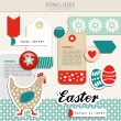 Set of cute spring easter scrapbooking elements, vector — Stock Vector #64752775