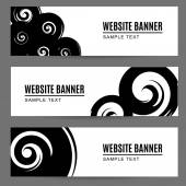 Abstract monochrome watercolor, ink painted banners with spirals — Stock Vector
