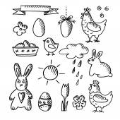 Set of spring easter doodle sketches, icons, isolated vector — Stock Vector