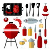 Set of barbecue food and utensils elements, flat design, vector — Stock Vector