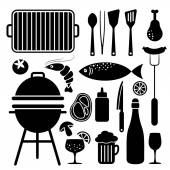 Set of barbecue food and utensils black icons, isolated vector — Stock Vector