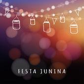 Brazilian june party, midsummer celebration, summer garden party, vector — Stock Vector