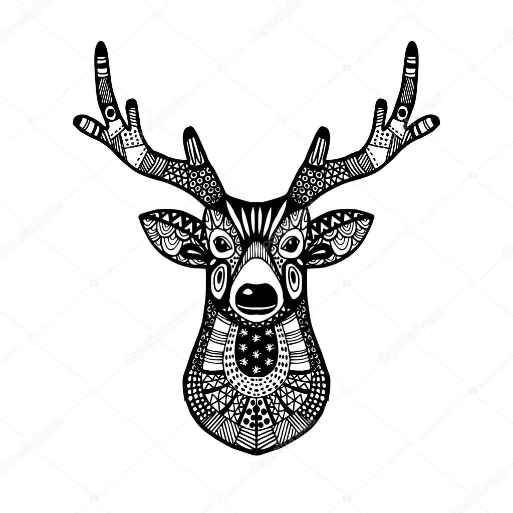 Téléc... Tribal Deer Head Tattoo