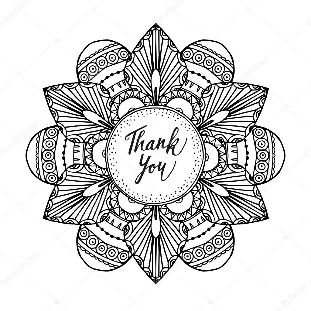 Line Art Thank You : Ornamental greeting card with hand drawn zentangle
