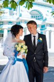 Bride and Groom at wedding Day walking Outdoors on spring nature — Stock Photo